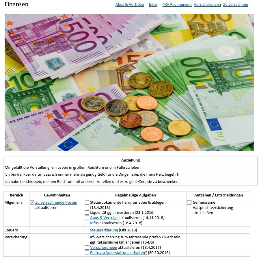 OneNote Seite Finanzen